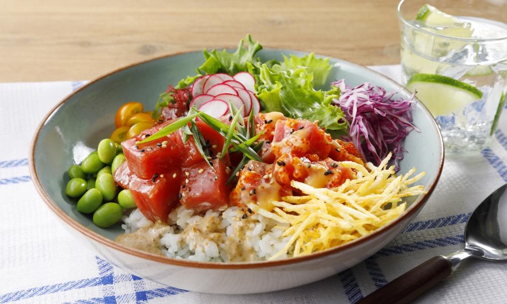 ケンコーマヨネーズ様 サラダ料理レシピ ポキごはん 調理、スタイリング